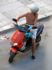Scooter Boy (Toni Kaarttinen) Tags: street boy shirtless portrait people man guy pecs portraits island greek helmet scooter greece human grecia topless shorts moped griechenland abs rodos rhodes grce rodi rodes rhodos grcia rodas dodecanese ellda  hells rdos