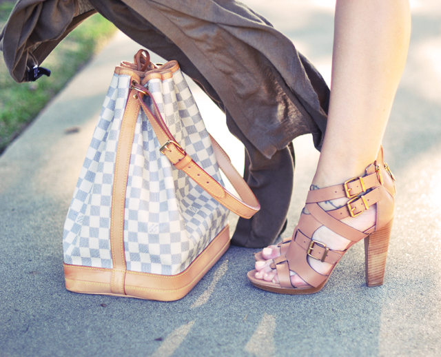 pour la victoire strappy  heels  and louis vuitton damier azur noe bag  -contrast