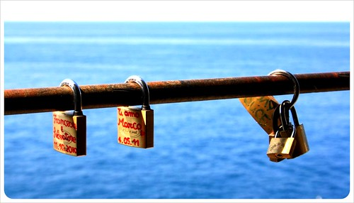 Padlocks along the Via dell'amore