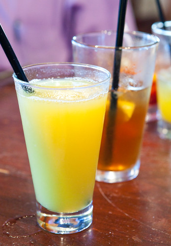 Non-alcoholic drinks: Pineapple juice and lemon iced tea