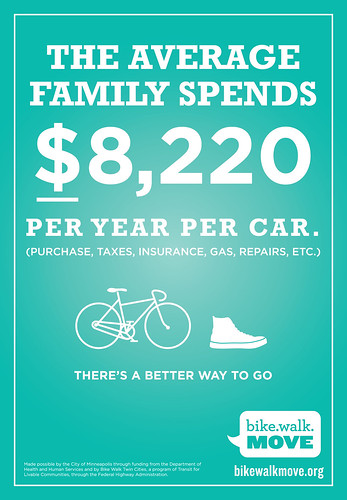 Cost of a car, Bike Walk Move program, Minneapolis