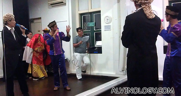 Skit rehearsal for Singapore Blog Awards 2011 at a shophouse in Sago Street
