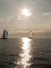 sail through sundown (cityNnature) Tags: sunset sky reflection water sailboat race sailing michigan regatta spinnaker genesis mackinacisland lakehuron porthuron slainte catalina34