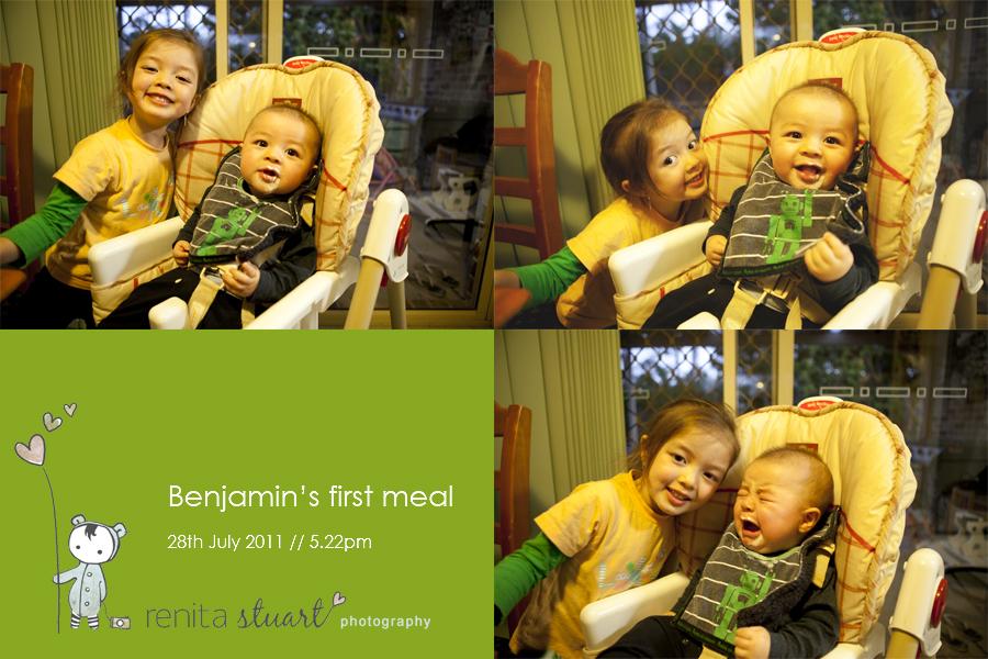 Benjamin's first meal