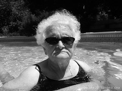 Elena in Pool (jason a. cina) Tags: old portrait woman jason pool face sunglasses swim stair candid frown cina
