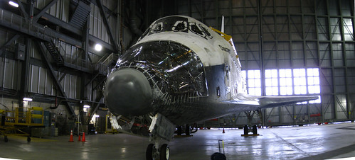 Space Shuttle Discovery in VAB (panoramic stitch 2)