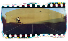 Devo - Feeble Grind (loren hamilton) Tags: panorama film yellow wall bar devin fuji g hamilton rail super panoramic burn devon devo widelux gigi loren expired f8 grind ventura gi gigis feeble altonaga