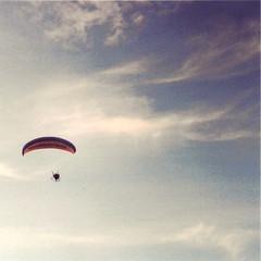 Flying high in the summer sky. (Ollie Hooper) Tags: uk light film clouds 35mm vintage flying lomo lomography kodak aircraft retro 35mmfilm vintagecamera fed3 russiancamera minidiana