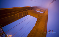 Disappearing Into the Fog (Nicholas Gonzales Photography) Tags: sanfrancisco california usa fog night lights landmark goldengatebridge