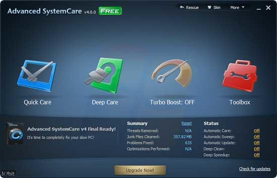 โหลด Advanced SystemCare Free 4 โปรแกรมดูแลและทำความสะอาดเครื่อง