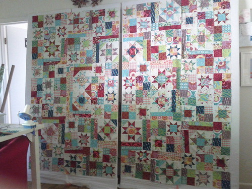 quilt on display boards