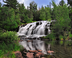 Bond Falls -  Paulding Michigan  (Middle Branch Ontonagon River) (Michigan Nut) Tags: longexposure summer sky usa reflection tree nature america river geotagged outdoors photography waterfall fishing rocks stream hiking michigan falls cascade bondfalls paulding ndfilter johnmccormick michigansupperpeninsula nikon1635mmf4gedafsvrwideanglezoomlens