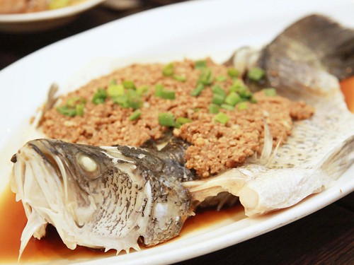 Steamed Sea Bass with Crispy Bean Paste