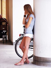 """It's Me"" (wolfgraebel) Tags: street summer woman feet armband girl bicycle mobile hair handy munich mnchen bayern bavaria long phone pants legs sommer pillar young hose blond flip short bracelet flops frau telefon fahrrad lang mdchen junge beine kurze haare telefonieren sule sendlinger strase fse"