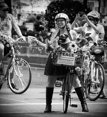 Peace Through Bubbles (Steve Rosenbach) Tags: nyc newyorkcity urban fun cyclists manhattan streetphotography bicycles midtown pedestrians streetscape parkavenue summerstreets peacethroughbubbles