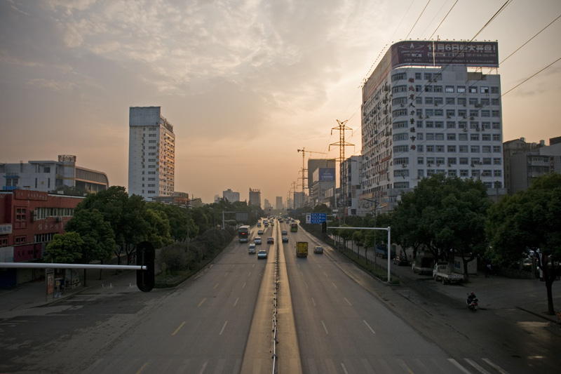 The morning view from the pedestrian bridge just outside the west gate of Wuhan Institute of Physical Education.