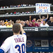 Josh Thole tosses equipment into the stands