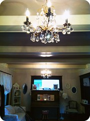 Newest vintage chandelier in front room (eg2006) Tags: old pink white house beautiful vintage gold beige pretty crystals interior cottage sparkle chandelier chic decor craftsman brass beams 2012 taupe 1916 shabby 2011 cofferedceiling