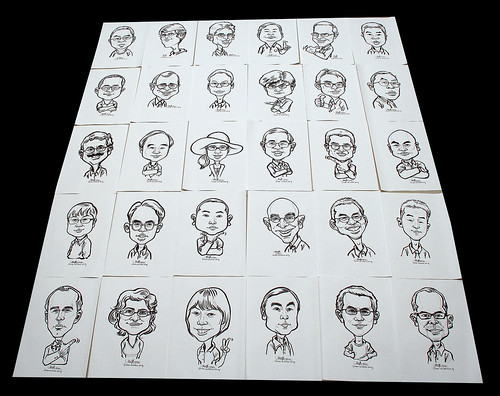 Caricatures in pen and brush for Fisher Scientific - 1