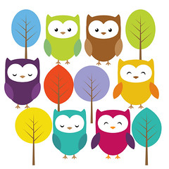 Cute owl and trees clip art set (Yulia_M) Tags: baby illustration scrapbook scrapbooking children cards design cartoon drawings clipart kawaii owl download etsy supplies greeting invitations printable сute digitalclipart