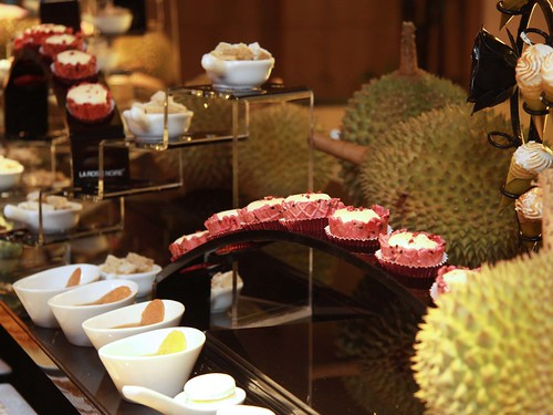 Durian desserts with Durian Beetroot Tart (in focus)