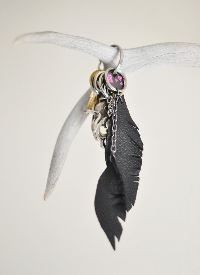 leather keyfob feathers