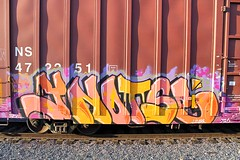 YNOT LIVES (KNOWLEDGE IS KING_) Tags: color art yard train bench one graffiti paint ns tracks railway sunny canvas socal lives tribute boxcar piece burner bomb freight rolling spraycan fill ynot in ynotse