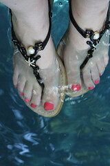 Coral and pearl sandals
