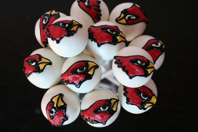 Cardinal Themed Cake Pops