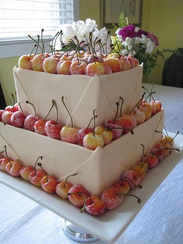 Golden Cherries Wedding Cake