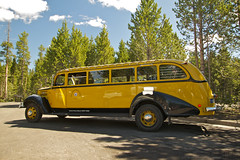 Historic Yellow Bus (Mike Miley) Tags: vacation usa bus yellow published mt tour canyon historic yellowstone 100 rv yellowbus westyellowstone yellowstonenps