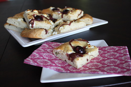 focaccia bread with cherries and goat cheese