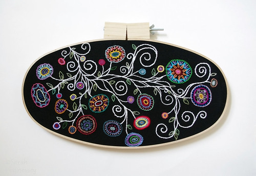 Black and White with Rainbow Flowers Oval Embroidery HoopBlack and White with Rainbow Flowers Oval Embroidery Hoop