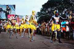 A seductive answer blows in the wind while Tigers and Lions Dance in Thrissur in Kerala. It is Pulikali ! (Anoop Negi) Tags: portrait india color art festival photography for photo dance media colorful paint image photos body delhi indian tiger bangalore creative lion large traditions kerala stomach images best leopard indie po form mumbai drama anoop indien onam rites inde rituals thrissur trichur negi インド 印度 índia photosof הודו 인도 ezee123 độ intia الهند pulikali ấn bestphotographer هندوستان индия imagesof anoopnegi індія بھارت индија อินเดีย jjournalism ינדיאַ ãndia بھارتấnđộינדיאַ indiã