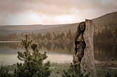 Wooden maid (Blasq) Tags: wood sculpture mountains tree water landscape nikon poland carving ridge sudety d300