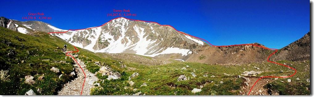 Torreys東北稜登山路線