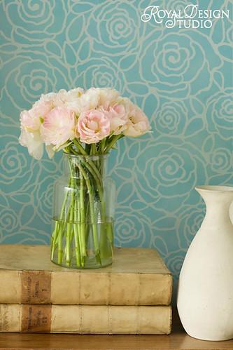 3095 Rockin-Roses-Damask-Wall Stencil