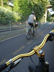 gold bars, Springwater Corridor sunset, Portland cyclist (SoulRider.222) Tags: sunset gold parts equipment part handheld portlandoregon carbonfiber bikeparts bicycleparts bikepart bicyclepart sooc alternativesunset nikonsooc nikoncoolpixs8100
