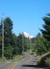 Mount Hood looms over Marmot Road