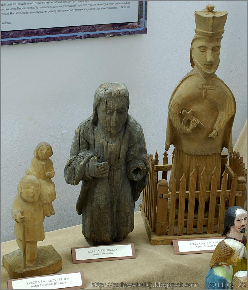 Rzeżby ludowe św. Krzysztofa, Józefa i Jana  w Muzeum Ziemi Biłgorajskiej