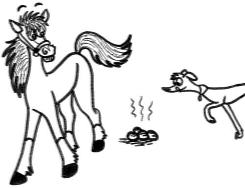 Comic-Whippet-Pferdeäpfel