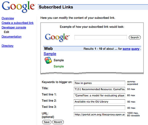 Google subscribed link definition