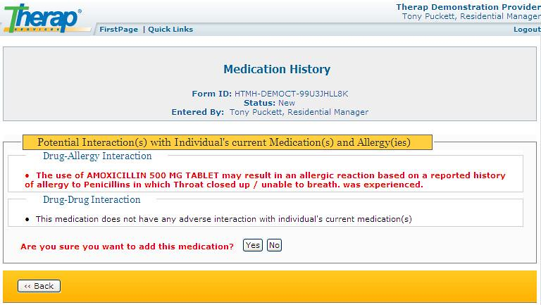 Screenshot of Medication History form showing Drug-Allergy Interaction and Drug-Drug Interaction