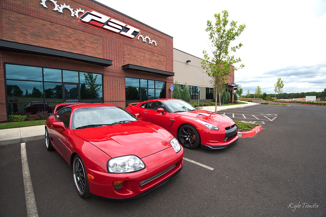 Supra and GTR in front of PSI.JPG