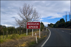 Reduce Speed road sign