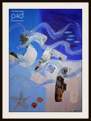 artwork sea (photos4dreams) Tags: sea blue meer shell shells muschel muscheln starfish seestern waves colours artwork colors acrylic acryl painting collage photos4dreams p4d photos4dreamz canvas leinwand bleu blau diy