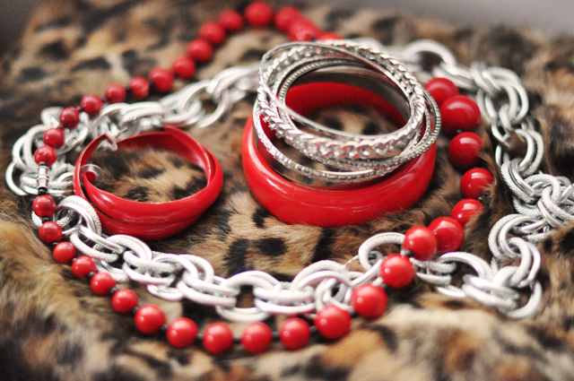 red and silver accessories + chains + necklaces + bracelets