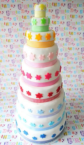Nine tier star covered cake