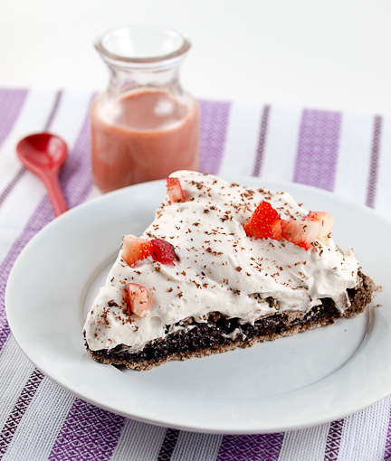 Dark Chocolate Chip Pavlova with Strawberry Whipped Cream