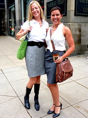 In town for a conference (yooperann) Tags: white chicago fashion grey women downtown loop young short straight statestreet skirts blouses chicagoist